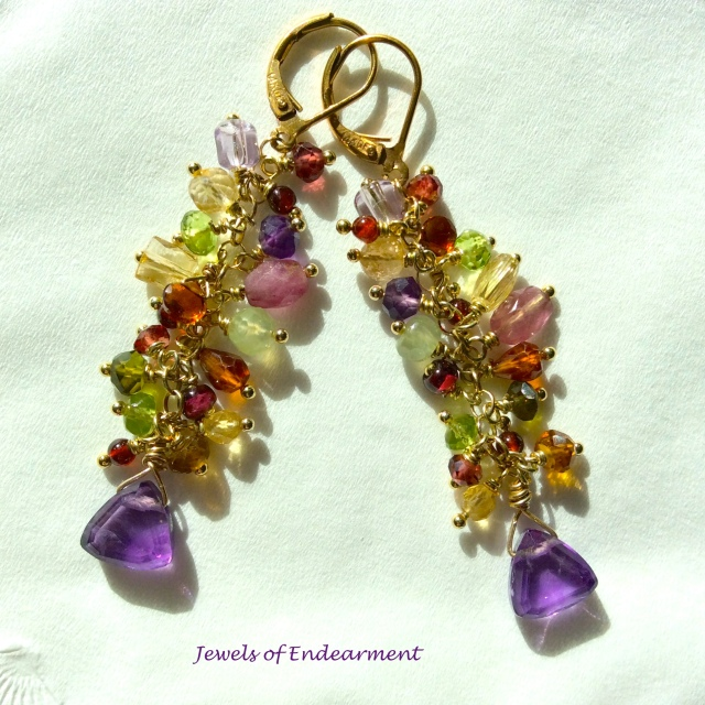 Amethyst Confection Earrings   Amethyst, periodot, garnet, yellow citrine, madeira citrine and turmaline frolic and sparkle together
