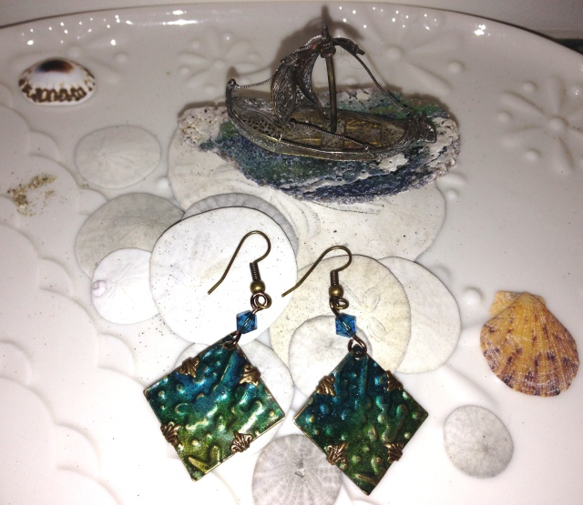 Oceantide Earrings   Various hues of blues and greens beckon to sail away on the tide!