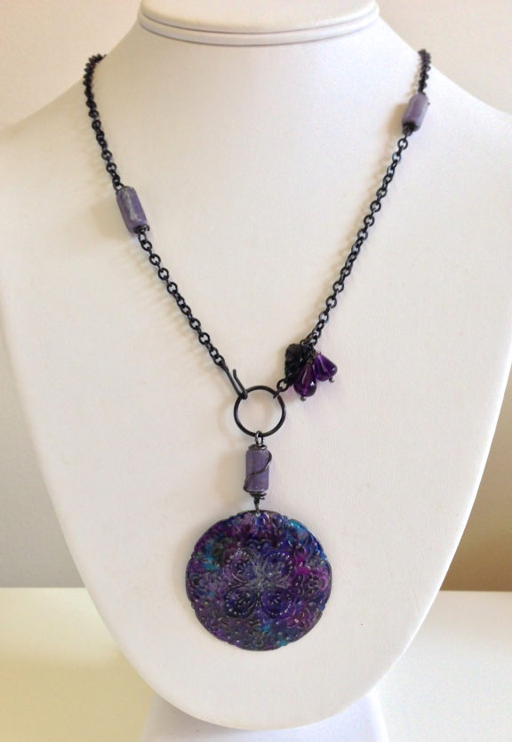 Stormy Skies in Amethyst Necklace  Arte metal painted in blues and purples with lepidolite and amethyst drops reflect the skies