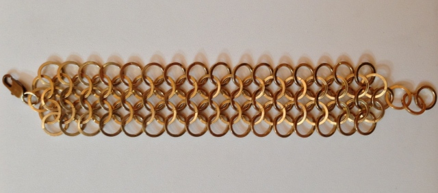 Chain Maille Bracelet using large rings of squared edged brass. Love the effect!