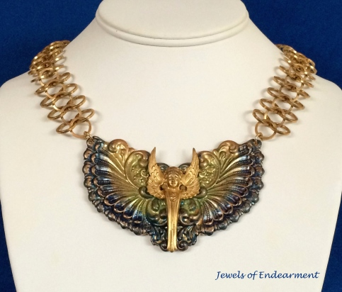 Art Deco Angel Necklace in Blue