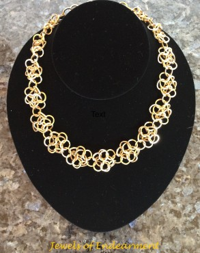 Chain Maille Rosette Necklace A variation which adds a lovely melody to any outfit!