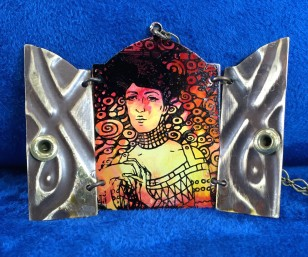 The Woman Within Necklace A mysterious woman inspired by Gustav Klimt arises from the vibrant paint.